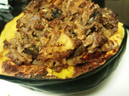 cauliflower rice stuffed acorn squash #paleo