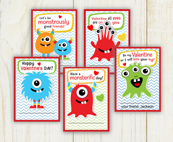 5 adorable printable valentines day cards on etsy – Monster Valentine Cards