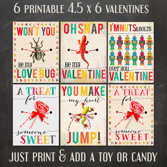 5 adorable printable valentines day cards on etsy – Valentines Cards Print