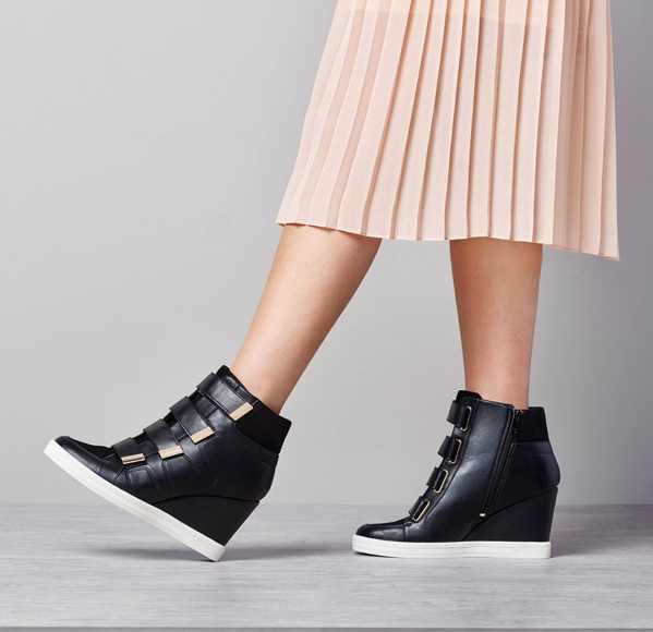 Find the latest Fall Shoe Trends at DSW! Loving the modern sport look and high top wedge sneakers. How chic are these Aldo Bladow High Top Wedges? Come try on a pair at the Fall Trend Try on Party at DSW! via @SoChicLife