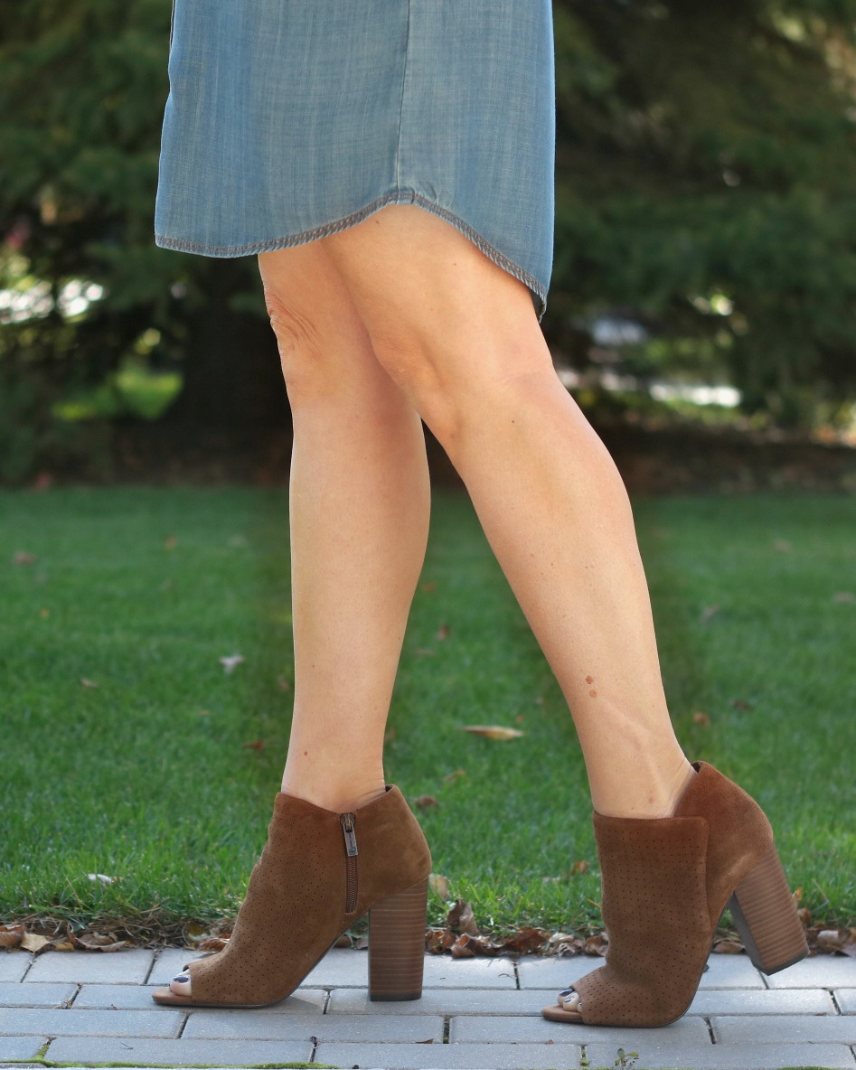 Find the latest Fall Shoe Trends at DSW! Loving these Jessica Simpson Kymber Peep Toe Booties in Cognac. Pair with dresses, jeans and skirts. How much do you love this block heel suede bootie? via @SoChicLife