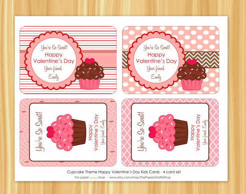 Printable Kids Classroom Cupcake Theme Valentineu0027s Day Cards