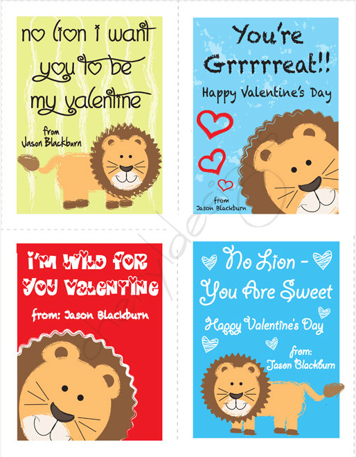 DIY Lion Valentineu0027s Day Cards