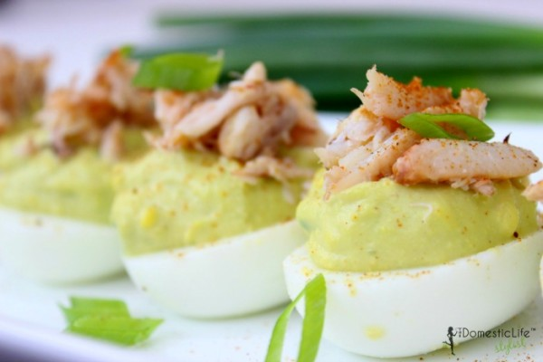 crab and deviled eggs