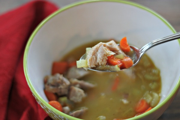 "Thanksgiving is over but what to do with all that leftover turkey? It's time to clean out the fridge and make easy chicken soup. No turkey? Try using leftover rotisserie chicken for this quick and healthy chicken soup recipe adapted from 21 Day Sugar Detox. Feeling a little under the weather? Chicken soup for colds is just what the ""doctor"" ordered!"