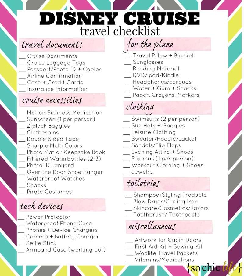Disney Cruise Travel Checklist