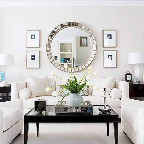9 easy ways to freshen up your living room so chic life for White mirrors for living room